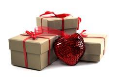 Heart near a box Royalty Free Stock Photography