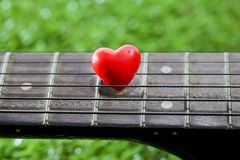 Heart on neck guitars and strings on the grass Stock Photos