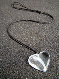 Heart necklace. With black cord Royalty Free Stock Images