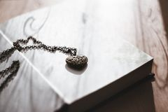 Heart, Necklace, Old, Steel, Book Stock Photos