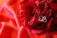 Heart necklace on red roses B Royalty Free Stock Images