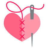 Heart and needle. Heart with a needle thread.  illustration Royalty Free Stock Image