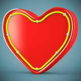 Heart with neon glow Stock Photography