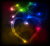 Heart neon light background Royalty Free Stock Images