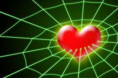 Heart in net. Abstract heart in net on dark green background stock illustration