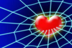 Heart in net. Abstract heart in net on dark blue background vector illustration