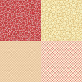Heart and net seamless patterns Royalty Free Stock Photography