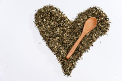 Heart of nettle tea on the white background.  stock photos