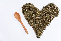 Heart of nettle tea on the white background Royalty Free Stock Image