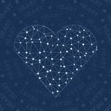 Heart network symbol. Alluring constellation style symbol. Delightful network style. Modern design. Heart symbol for infographics or presentation Stock Photos