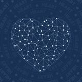 Heart network symbol. Alluring constellation style symbol. Ecstatic network style. Modern design. Heart symbol for infographics or presentation Royalty Free Stock Photography
