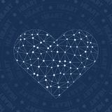 Heart network symbol. Alluring constellation style symbol. Delicate network style. Modern design. Heart symbol for infographics or presentation Stock Images