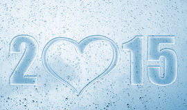 2015 heart new year. 2015 heart happy new year with blue back ground and glass water drops royalty free illustration