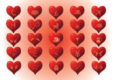 Heart. Nicons of hearts with pictures inside Royalty Free Stock Photo