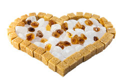 Heart from not refined reed granulated sugar Royalty Free Stock Photos