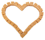 Heart from not refined reed granulated sugar Stock Photography