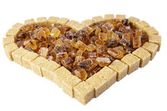 Heart from not refined reed sugar Stock Photo