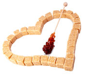 Heart from not refined reed sugar Royalty Free Stock Image