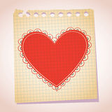 Heart note paper cartoon illustration Royalty Free Stock Photo