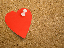 Heart note, reminder on cork board backgound - blank for your me Stock Images