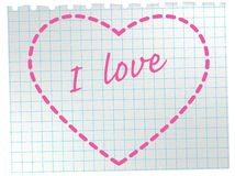 Heart on notepad sheet. Royalty Free Stock Images