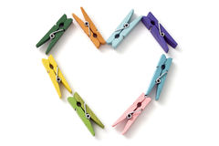 The heart of a number of colored linen clothespins Royalty Free Stock Photos