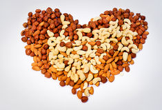 Heart from nuts Stock Images