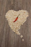 Heart of oat flakes Royalty Free Stock Photos