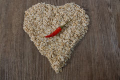 Heart of oat flakes Stock Image