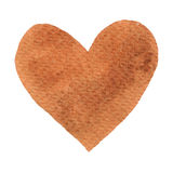 Heart ochre painted watercolor. Big orange, brown heart isolated on white background for text design, label, valentines day. Abstract aquarelle romantic Stock Photography
