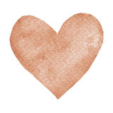 Heart ochre painted watercolor. Big orange, brown heart isolated on white background for text design, label, valentines day. Abstract aquarelle romantic Stock Images