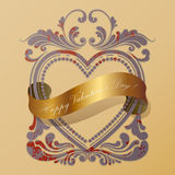 Heart old frame with a golden ribbon Royalty Free Stock Photos