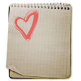 Heart  old used notebook Stock Image