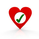 Heart. With one checkmark inside Stock Photo