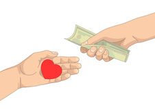 Heart in one hand and money in another hand Stock Photography
