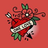 Heart One Love in traditional style of old school tattoo. Heart One Love in the traditional style of old school tattoo vector illustration Stock Image