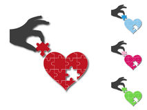 Heart completed by silhouette hand Stock Image
