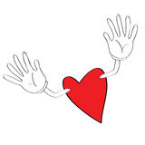 Heart with open arms. Heart cartoon with open arms for hugs Stock Photo