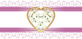 Heart with orchids on the floral borders Stock Photography