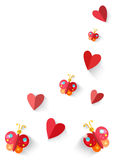 Heart origami  and butterflies isolated in white background. Vec Stock Image