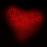 Heart ornament 02. Lacy  red heart on a black background to the Valentine's day Royalty Free Stock Photo