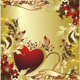 Heart with an ornament. Heart with butterflies and a vegetative ornament Royalty Free Stock Image