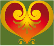 Heart ornament. Coloured decorative baroque symbol shaped heart Stock Photography