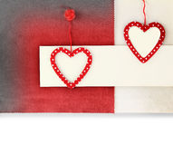 Heart ornament on vintage fabric background Royalty Free Stock Images