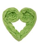 A heart is out of green scarf. Stock Images