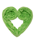 A heart is out of green scarf. Stock Photos