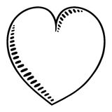 Heart outline illustration. Freehand heart drawing Stock Image