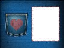 Heart over denim pocket Stock Photo