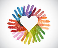 Heart over diversity hands circle Royalty Free Stock Photos