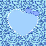 Heart over ornament blue. Greeting card with heart over floral ornament Stock Image